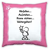 Sheepworld 43456 Baumwollkissen Hinfallen … Aufstehen … Krone Richten … Weitergehen, 40 cm x 40 cm, Rosa