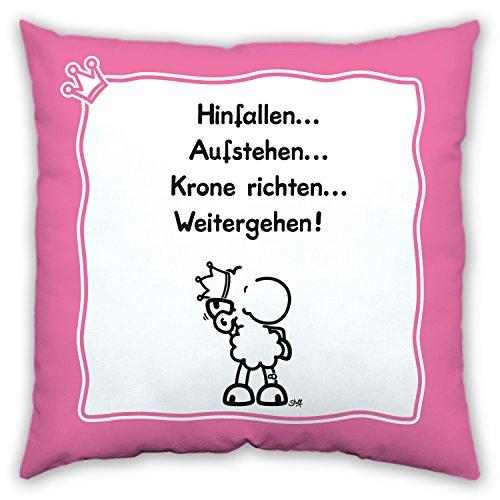 """Sheepworld 43456 Baumwollkissen """"Hinfallen … Aufstehen … Krone richten … Weitergehen"""", 40 cm x 40 cm, rosa"""
