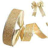 Fablcrew ruban de Noël Sparkle ruban pour la décoration de fête de Noël Papier cadeau 200*5cm, doré, Taille M