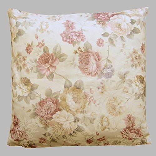 heimtexland ® LANDHAUS Rosen Kissenhülle in 40x40 cm aus hochwertigem Jacquard in creme rosé mit Blumen Druck Rose - Kissen Country Chic Typ442