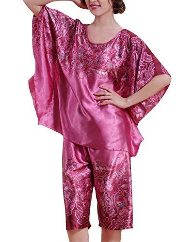 Pijamas Mujer Mujer Verano Manga Corta Cuello Redondo Conjunto De Pijama  Floreadas Elegantes Moda Vintage Cómodo 374cc4a5c