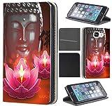 Huawei P9 Lite 2017 Hülle von CoverHeld Premium Flipcover Schutzhülle aus Kunstleder Flip Case Motiv (1144 Buddha Lotusblume Braun Pink)