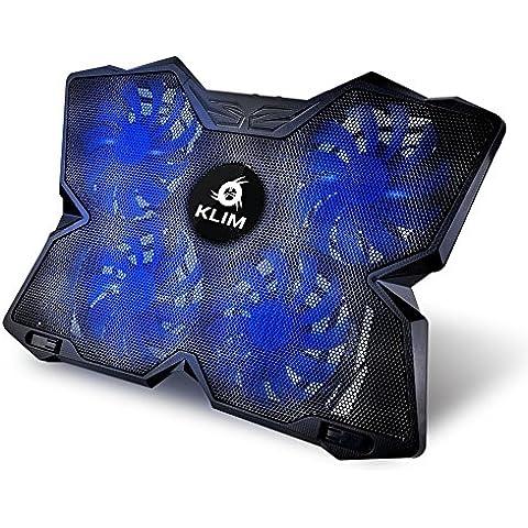 KLIM Wind Refrigeración para ordenador portátil – La más poderosa – Acción de enfriamiento rápido – Base refrigerante Gaming de 4 ventiladores con soporte (Azul)
