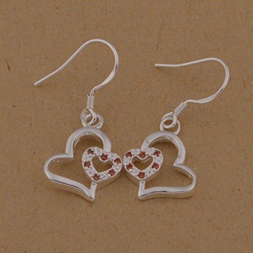 Boucles d'oreilles coeur cristaux swarovski elements argent 925 Orange