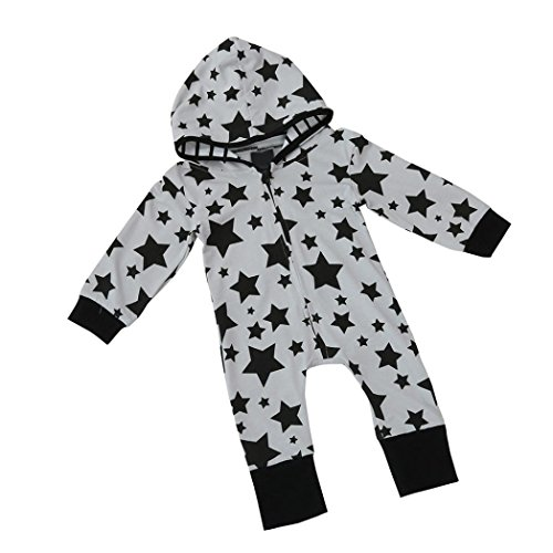 50er Jahre Outfits Tag (PINEsong Baby Junge Mädchen Kinder Drucküberzug Spielanzug Overall Kleidung Outfit (Grau,)