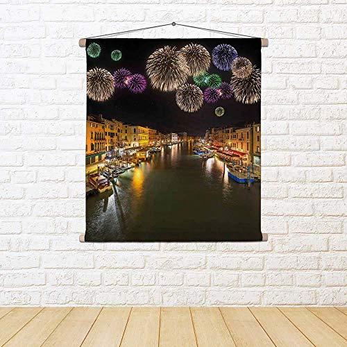 Rialto-finish (ArtzFolio Grand Canal & Rialto Bridge, Venice Italy Satin Painting Tapestry Wall Hanging 36 X 38.5Inch)