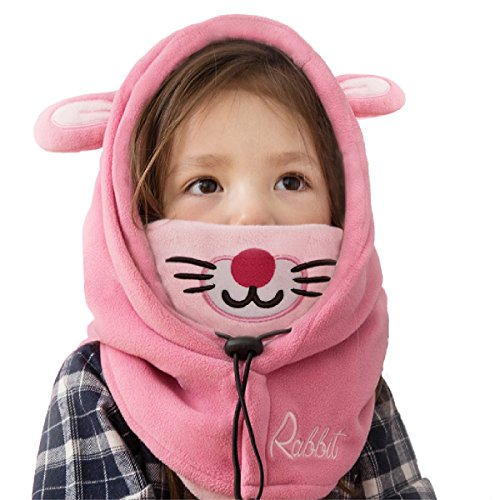 TRIWONDER Kids Fleece Balaclava Face Mask for Cold Weather Ski Mask Winter Windproof Cap Neck Warmer Full Face Cover Hat for Boys Girls Toddler Youth (Pink - Rabbit)