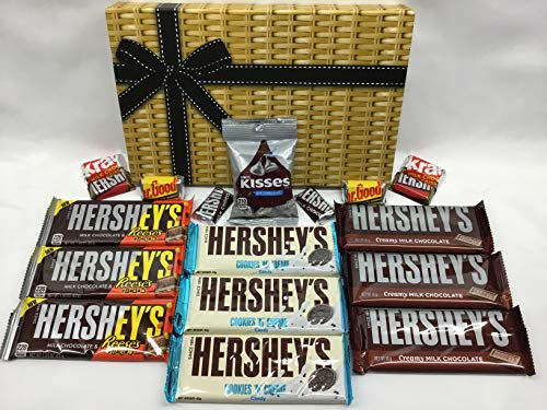 Hershey Chocolate Gift Hamper - 9 x Hershey's Bars - 1 x 43g Kisses - 8 x Mini Hershey Bars - Milk - Cookies and Cream - Reeses Pieces ... (Hershey Bar Chocolate)