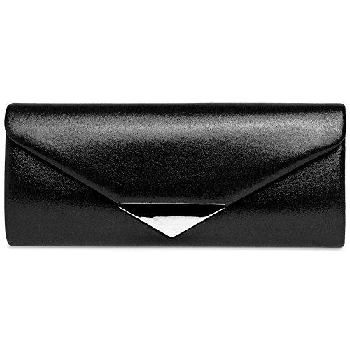 Caspar TA417 Damen Glanz Satin Envelope Baguette Clutch Abendtasche, Farbe:schwarz, Größe:One Size (Schwarze Satin-abend-tasche)