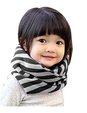 Lucky Will Winter Gestreift Loop Schlauchschal Schal Strickschal Rundschal für Baby Kinder Mädchen schwarz