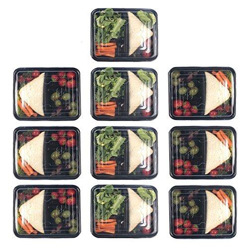 Zuvo: usa e getta lunch box–15pezzi set, 3scomparti pasto prep, controllo della parte, forno a microonde e lavastoviglie, senza bpa, riutilizzabile, impilabile, contenitore alimentare bento (rettangolare, base nera)