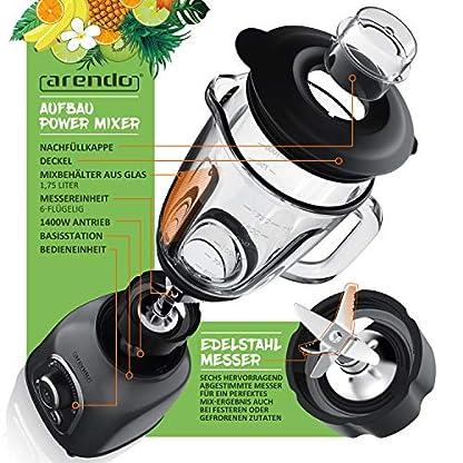 Arendo-Standmixer-Edelstahl-Hochleistungsmixer-1400-Watt-24000-Umin-Mixer-inkl-175-l-Glasbehlter-kugelgelagertes-Edelstahlmesser-6-flgelig-30-Leistungsstufen-Design-Cool-Grey