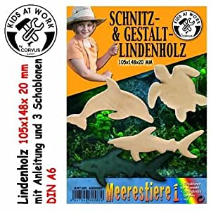 HOLZ SCHNITZHOLZ LINDENHOLZBLOCK MEERESTIERE A6 105x148x20mm A600587