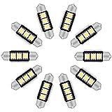 MHtech 10 X C5W 36mm Bombillas Coche LED Cansbus No Errore 3 LED 5050 SMD Festoon, Lámpara Interior, Blanco Xenon 6000K, 12V (Blanco)