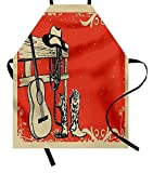 CVDFVFGB Aqua Apron, Tribal Hippie Ethnic Floral Leaves Mandala Rounds Traditional Elements Print,...