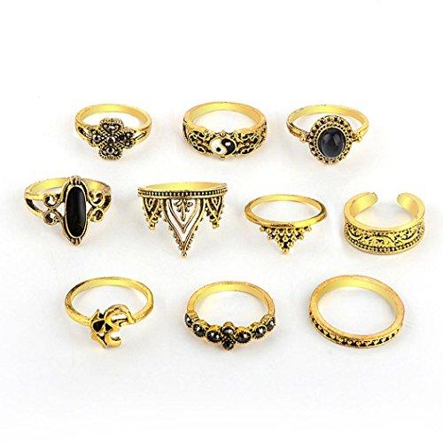 (2018Fashion Frauen Mädchen Schmuck Ringe Set Mingfa 100Bohemian Vintage Stack Ringe vor Knuckle Band Ringe Hochzeit Engagement Ring Gold)