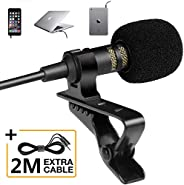 Professional Grade Lavalier Lapel Microphone - Omnidirectional Mic with Easy Clip On System - Perfect for Reco