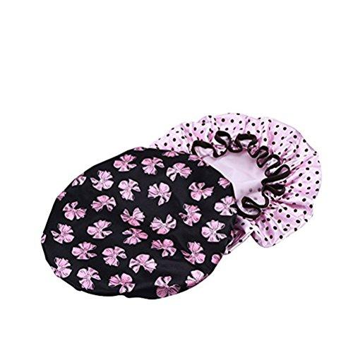 ULTNICE Cuffia doccia per le donne impermeabile Cuffia da bagno elastica Taglia unica(2psc)