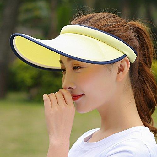 Hyun times Leere Top-Hut Outdoor-Sonnenschutzmittel atmungsaktive Laufen Sommer Traufe keine Top-Paar Männer und Frauen Schatten Hut ( Farbe : Gelb )
