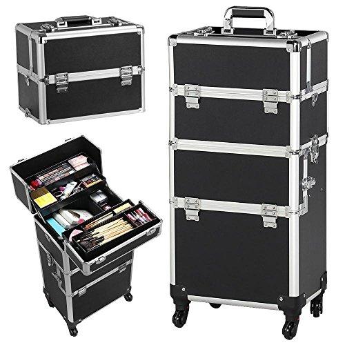 Yaheetech Valigetta/Trolley Trucchi Telaio in Alluminio Beauty Case Make Up da Viaggio per Estetista Professionale 36 x 24 x 78 cm Nera