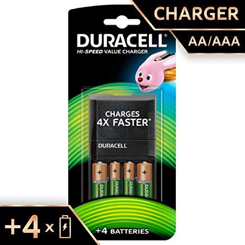 Chargeur de Batterie Duracell 45 minutes, avec Piles Rechargeables, 2 AA + 2 AAA