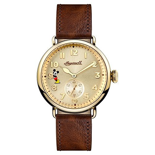 Ingersoll Disney Men's The Trenton Union Quartz Watch with Cream Dial and Brown Leather Strap ID01201