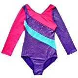 Happy Cherry Leotards for Kids Long Sleeve Gymnastics Custume Multicolour Jumpsuit Ballet Bodysuit,Purple
