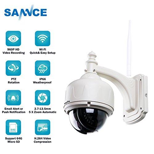 SANNCE-Cmara-IP-Metal-960P-HD-PanTiltZoom-ptico-5X-Inalmbrico-de-Sistema-de-vigilancia-Visin-nocturna-30M-wifi-PTZ-compatible-con-iOS-Android-Soporta-Tarjeta-64GB