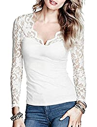 TUDUZ Newest Creative Design Women's Casual Elegant Solid Long Sleeve Lace Stitching V-Neck T-Shirt Pullover Tops Blouse