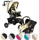 Froggy® 2 in1 Kombi-Kinderwagen DINGO Kinderbuggy mit Autositz Set Kinderwagen Buggy Jogger ultraleicht 5-Punkt-Sicherheitsgurt Liegefunktion Beach