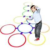 Kids Outdoor Jumping Ring Hopscotch Ring Game Speelgoed 10 veelkleurige plastic ringen en 9 aansluitingen voor binnen of buit