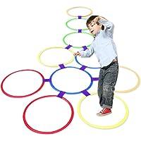Hopscotch, cerchi giocattolo per bambini da usare all'aperto, 10 cerchi e 10 raccordi, multicolore, in plastica, anche…