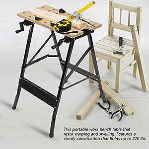 Mesa de Trabajo Plegable de Carpintería Resistente Acero + Madera Banco de Trabajo Herramienta de Reparación de Taller