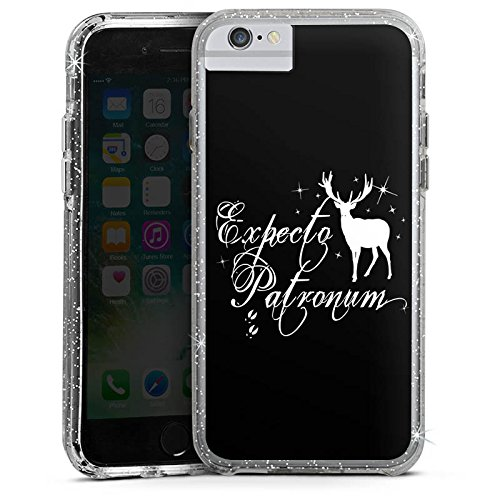 Apple iPhone X Bumper Hülle Bumper Case Glitzer Hülle Expecto Patronum Harry Potter Hirsch Bumper Case Glitzer silber