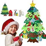 albero di natale, albero di natale in feltro per bambini, addobbi di natale, 2 m di luce a LED 32 pezzi ornamenti e sacchetto di caramelle per i regali di Natale per bambini