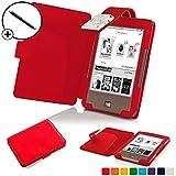 Forefront Cases® Tolino Page Shell Hülle Schutzhülle Tasche Bumper Folio Smart Case Cover Stand mit LED Licht - Leicht mit Rundum-Geräteschutz inkl. Eingabestift (Rot)