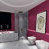 Saingace Wandaufkleber Wandtattoo Wandsticker,Neue PE-Schaum 3D-Tapete DIY Wand-Aufkleber-Wand-Dekor prägeartiger Ziegelstein-Stein (Hot Pink)