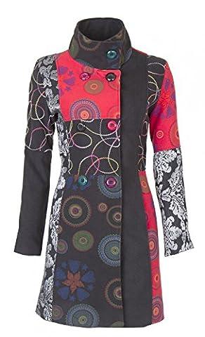 25 Designs-Sehr schöner Damen Luxus Winter Mantel Patchwork Trenchcoat 34 36 38 40 42 44 45 , Farbe:Schwarz/Rot/Silber;Größe:L-38
