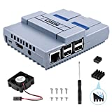 Raspberry Pi 3 B+ Case, ETEPON SNES Game Console Protection Case with Cooling Fan,Screwdriver Enclosure and Heat Sinks for Raspberry Pi 2B 3B 3B+ QC24