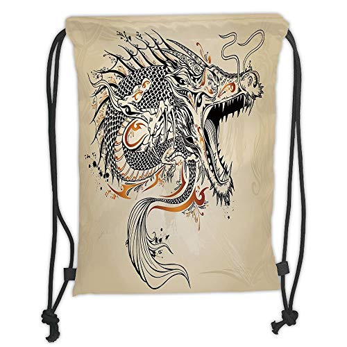 WTZYXS Drawstring Sack Backpacks Bags,Japanese Dragon,Doodle Style Roaring Creature with Tail Fangs Scales Tribal Details,Tan Black Gold Soft SatinT,5 Liter Capacity,Adjustable. -