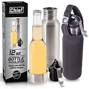 Bierflaschenkühler von Chief aus rostfreiem Stahl mit Isolierung + Flaschenöffner aus Stahl + Isoliertasche als Bonus + E-Book + Geschenkbox