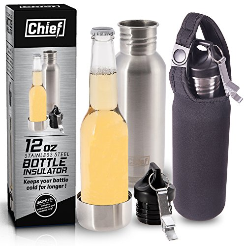 chief-stainless-steel-beer-bottle-cooler-insulator-includes-bonus-steel-bottle-opener-insulated-bag-