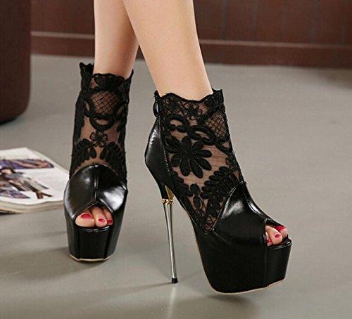Donne Fashion Net di giunzione del filo High Heels Peep Toe banchetti Scarpe Donna della piattaforma delle pompe 16CM sandali Plus Size 35-40 Black