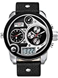 Alienwork DualTime Analogue-Digital Watch Multi-function LCD Wristwatch XXL Oversized Leather black black OS.WH-2305-3