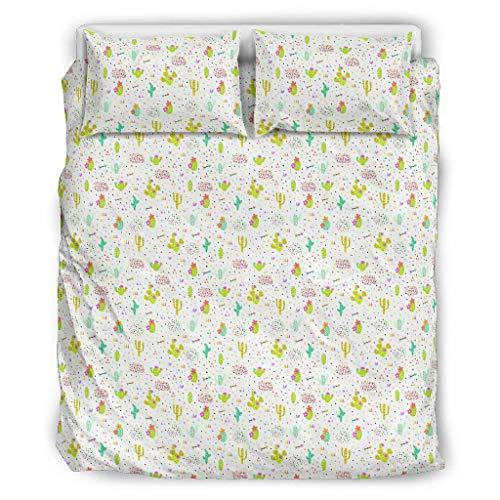 RNGIAN Verziertes Bettwäscheset Pflanzenkaktus, 3-teiliges Bettwäsche-Set mit