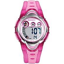 Lancardo Reloj Deportivo Digital de Multifunciones con Luces Pulsera Electrónica con Jalea Correa de Silicona Impermeable de 30M para Actividad Deportes Exteriores para Chico Chica Unisexo (Rosa)