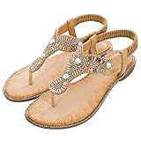Damen Flache-Sandalen Thongs-Schuhe Open-Toe Strand Sport Flip-Flops Gold 37 EU