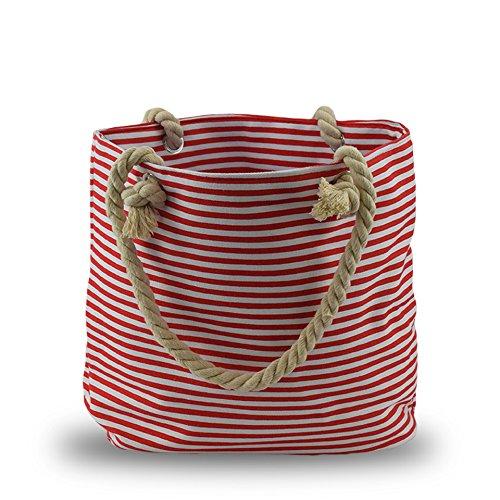 Sonia Originelli Shopper Strandtasche Kordel Seil Streifen Anker Anchor Maritim T021-AN (Grau-Rosa) Rot-Marine