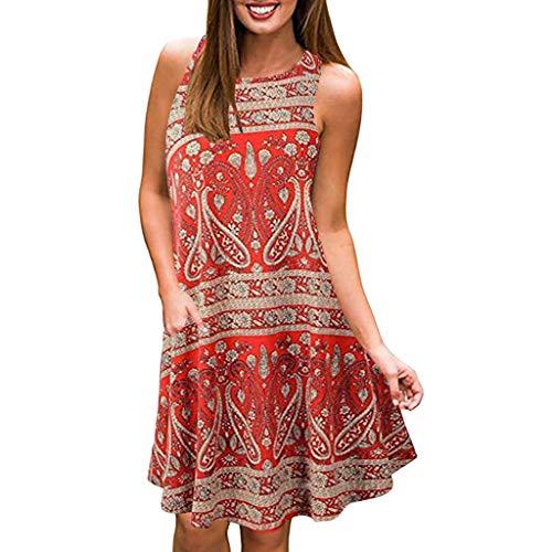 3674746a4f725b VEMOW Faldas de Mujer Vestido Cuello Redondo para Mujer Vestido de  oscilación sin Mangas Vestido Casual