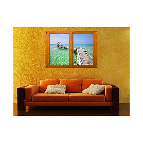 TATOUTEX Sticker, Trompe Auge Fenster Die Hütte auf L Wasser, L 140cm x H 100cm